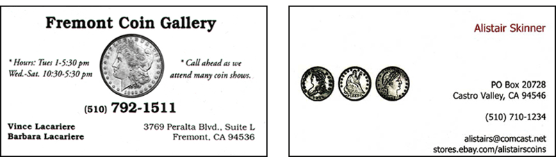 Fremont Coin Gallery, Alistair's Coins
